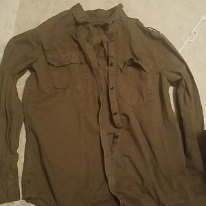 Army Green Banana Republic Collared Shirt